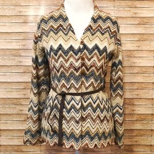 Chevron patterned belted sweater cardigan